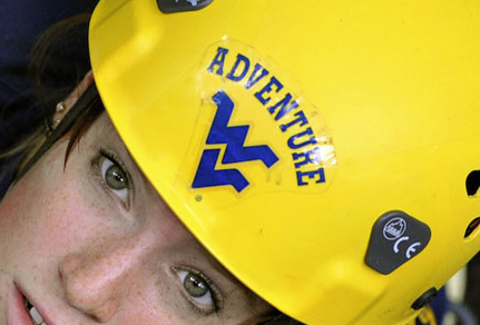 Girl wearing a WV Adventure hard hat.